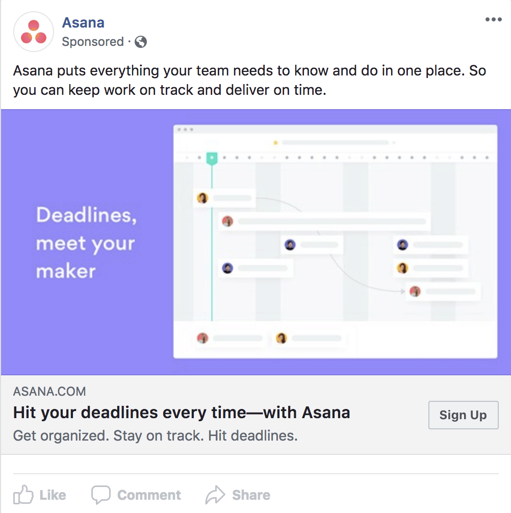 Facebook Ad using power words.