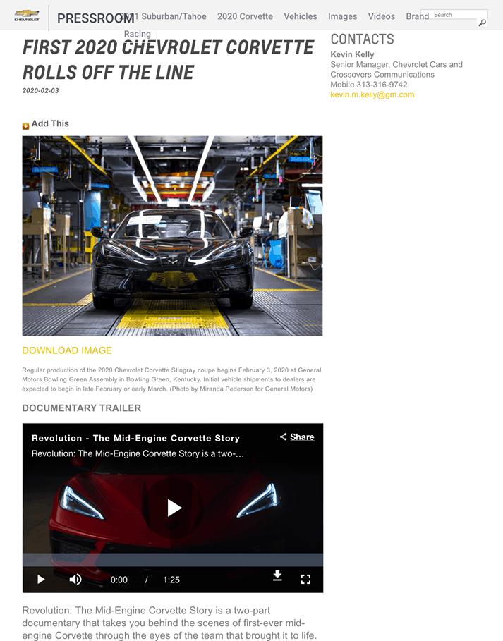 Chevrolet press release