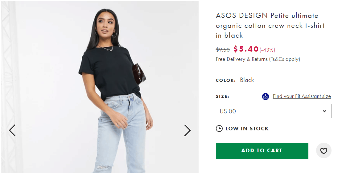 ASOS low in stock is used as social proof